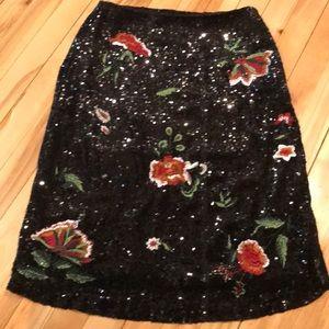 Maeve (Anthropologie) floral & black sequin skirt